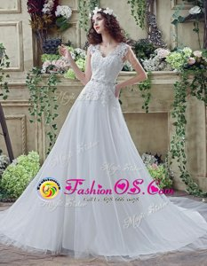 White Wedding Dress Tulle and Lace Court Train Long Sleeves Lace and Appliques