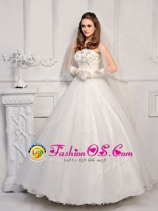 White Lace Up Wedding Gown Beading Sleeveless Ankle Length