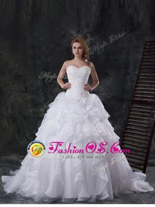 Inexpensive With Train White Wedding Dresses Sweetheart Sleeveless Brush Train Lace Up