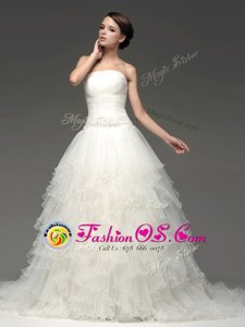 Tulle Sleeveless Wedding Dress Sweep Train and Beading and Ruffles