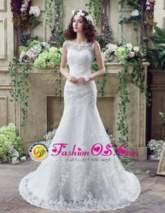 Free and Easy Mermaid See Through Scoop Sleeveless Lace Wedding Gowns Beading and Appliques Brush Train Backless