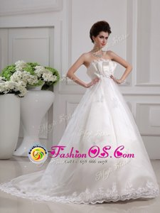 Scalloped Sleeveless Chiffon Wedding Gown Beading and Appliques Brush Train Side Zipper