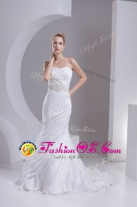 Mermaid Sleeveless White Wedding Gown Brush Train Lace Up