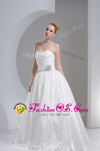 Decent White Zipper Bridal Gown Beading and Ruching Sleeveless Floor Length