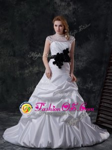 Discount White High-neck Neckline Beading and Ruching and Pick Ups and Hand Made Flower Wedding Dresses Cap Sleeves Lace Up