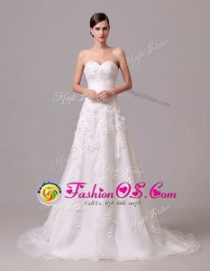 Latest White Lace Up Sweetheart Appliques and Hand Made Flower Wedding Dresses Chiffon Sleeveless Brush Train