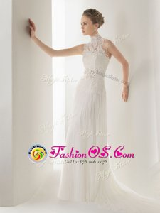 Lovely Halter Top With Train Clasp Handle Wedding Dress White and In for Wedding Party with Lace and Belt Brush Train
