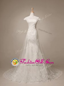 With Train A-line Cap Sleeves White Wedding Dresses Brush Train Clasp Handle