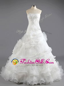 High End White Column/Sheath Ruffled Layers Wedding Dresses Lace Up Organza Sleeveless With Train