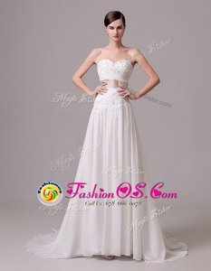 White Sweetheart Lace Up Beading and Belt Bridal Gown Brush Train Sleeveless
