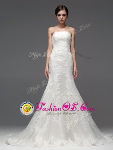 Gorgeous Brush Train Column/Sheath Wedding Dress White Strapless Lace Sleeveless With Train Lace Up