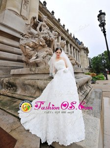 New Arrival Sleeveless Lace and Fabric With Rolling Flowers With Brush Train Lace Up Wedding Gown in White for with Lace