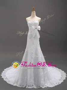 Cute White Organza Lace Up Wedding Gown Sleeveless With Brush Train Beading and Lace and Appliques and Bowknot