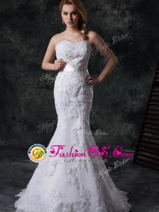 Super Mermaid Lace Sweetheart Sleeveless Brush Train Lace Up Beading and Appliques and Bowknot and Belt Wedding Dress in White