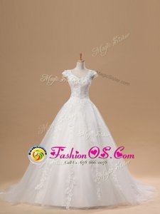 Amazing Short Sleeves Brush Train Lace and Appliques Lace Up Wedding Gown