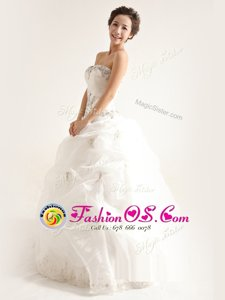 Artistic White A-line Organza Strapless Sleeveless Beading and Ruffles Floor Length Zipper Wedding Dresses