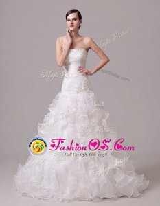 White Strapless Neckline Beading and Appliques and Ruffles and Ruching Wedding Gown Sleeveless Lace Up