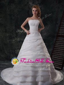 Beautiful White Wedding Gown Wedding Party and For with Beading and Appliques and Ruffled Layers Strapless Sleeveless Brush Train Lace Up