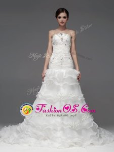 High Quality Organza Sleeveless Wedding Gowns and Beading and Ruffles and Ruffled Layers