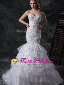 Cute Mermaid White Lace Up Bridal Gown Beading and Appliques and Ruffles Sleeveless Brush Train