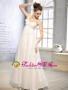 White Wedding Gown Wedding Party and For with Ruching and Hand Made Flower Asymmetric Sleeveless Lace Up