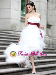 Latest White Column/Sheath Ruffles and Belt and Hand Made Flower Wedding Dresses Zipper Organza Sleeveless High Low