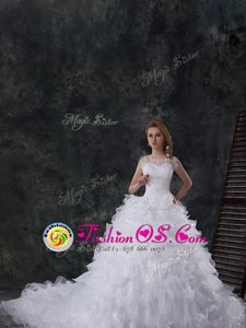 Traditional White Scoop Lace Up Beading and Ruffles Bridal Gown Chapel Train Sleeveless