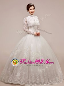 Glorious White Wedding Gown Wedding Party and For with Beading and Appliques High-neck Sleeveless Zipper