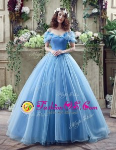 Organza Off The Shoulder Sleeveless Lace Up Ruching and Bowknot Bridal Gown in Blue