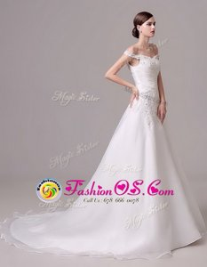 Off the Shoulder White Clasp Handle Bridal Gown Beading and Appliques and Ruching Sleeveless Court Train