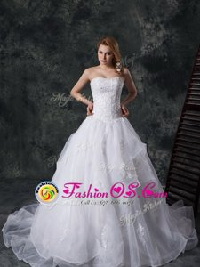 White Lace Up Straps Lace and Appliques Wedding Gowns Lace Sleeveless Brush Train
