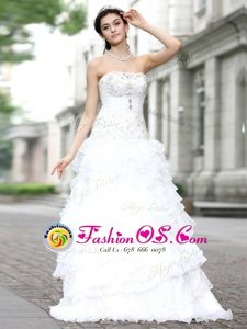 Dramatic Sleeveless Organza Floor Length Lace Up Wedding Dresses in White for with Beading and Ruffles and Ruffled Layers