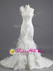 Mermaid White Sleeveless With Train Beading and Appliques and Ruffles Lace Up Wedding Gowns