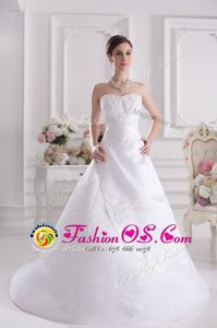 High Class White Satin Zipper Sweetheart Sleeveless With Train Wedding Dresses Brush Train Beading and Appliques