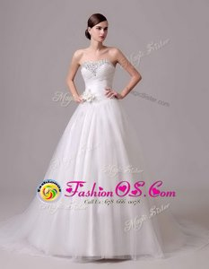 Dynamic White Tulle and Lace Lace Up Bridal Gown Short Sleeves Chapel Train Lace and Appliques