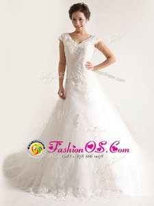 Hot Sale White A-line Tulle V-neck Cap Sleeves Lace and Appliques With Train Lace Up Wedding Dress Chapel Train