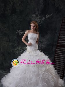 Custom Design Mermaid White Sleeveless With Train Ruffled Layers Lace Up Wedding Dress