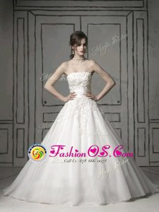 Nice White Sleeveless Brush Train Appliques With Train Wedding Dress