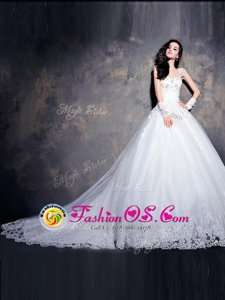 Cap Sleeves With Train Beading and Appliques Lace Up Wedding Gowns with White Court Train