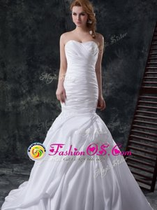 Great White Mermaid Ruching and Pick Ups and Hand Made Flower Wedding Gown Lace Up Taffeta Sleeveless With Train