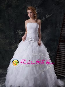 With Train White Wedding Dress Tulle Brush Train Sleeveless Beading and Ruffles and Ruching and Hand Made Flower