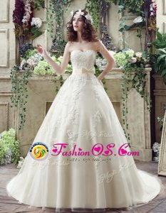 Fabulous Lace and Appliques and Bowknot Bridal Gown Champagne Lace Up Sleeveless Court Train