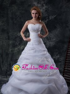 Luxurious White Sweetheart Lace Up Beading and Ruching and Hand Made Flower Wedding Gowns Court Train Sleeveless