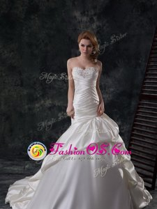 Gorgeous Mermaid White Sleeveless Taffeta Court Train Lace Up Wedding Dress for Wedding Party