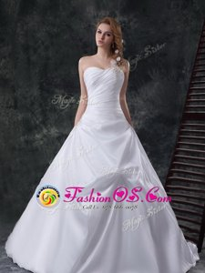 Sleeveless Court Train Zipper Ruching Wedding Dresses
