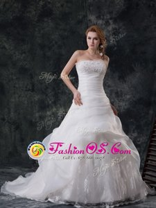 Sleeveless Brush Train Beading and Appliques and Ruching and Pick Ups Zipper Bridal Gown