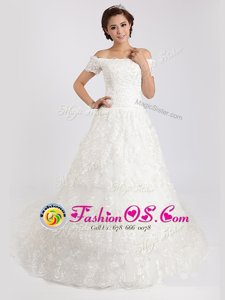 White Lace Lace Up Off The Shoulder Short Sleeves With Train Wedding Gowns Court Train Lace