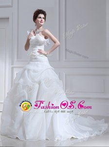 White A-line One Shoulder Sleeveless Organza and Tulle With Brush Train Lace Up Ruffles and Ruching and Pick Ups Wedding Dresses