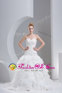 Simple Ruffled White Lace Up Bridal Gown Beading and Ruffles Sleeveless With Brush Train