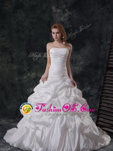 White Strapless Neckline Ruching and Pick Ups Wedding Gowns Sleeveless Lace Up
